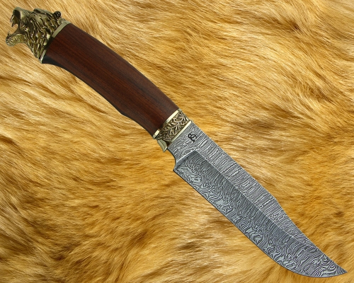 Нож Охотник 1 с бронз. литьём (дамаск)
