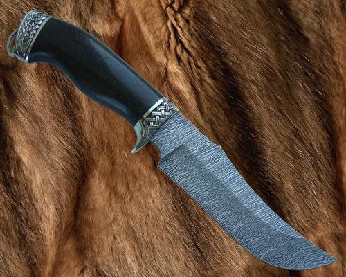Нож Хищник с литьём из мельхиора (дамаск)