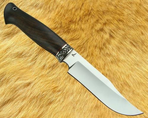 Нож Охотник 1 с мельхиоровой гардой (сталь D2, стабилизированная древесина) - глухой монтаж