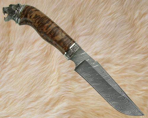 Нож Тайга 1 с литьём из мельхиора (дамаск, стабилизированная карельская берёза)