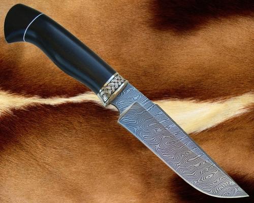 Нож Тайга 1(дамаск) с мельхиоровой гардой - сквозной монтаж