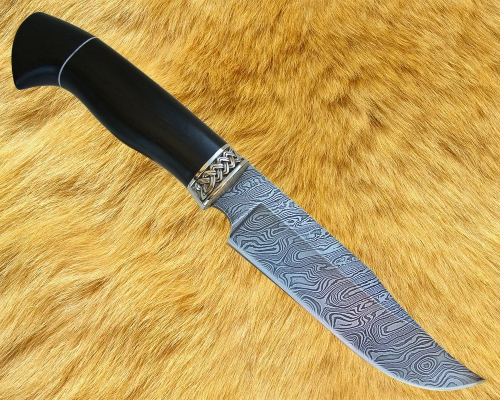 Нож Охотник 1 (дамаск) с мельхиоровой гардой - сквозной монтаж