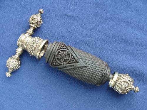 Комплект для кинжала Стилет (мельхиор) с резной рукоятью