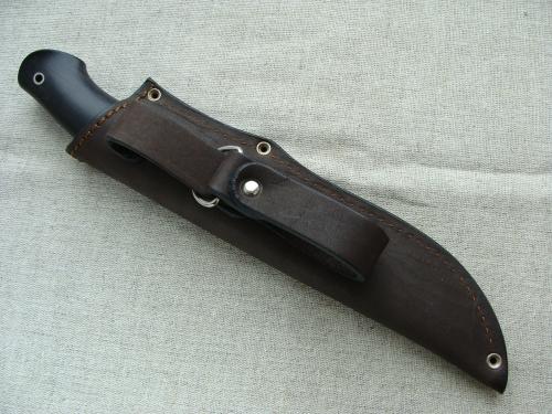 Нож Промысловый (сталь D2) с гладкой мельхиоровой гардой - глухой монтаж