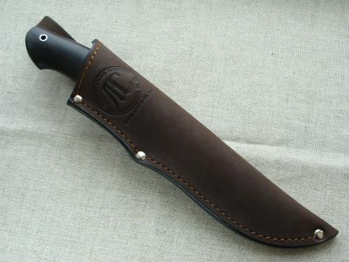 Нож Финский (дамаск) с гладкой мельхиоровой гардой - глухой монтаж