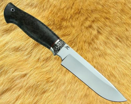 Нож Лесник 1 с мельхиоровой гардой (сталь D2, стабилизированная карельская берёза) - глухой монтаж
