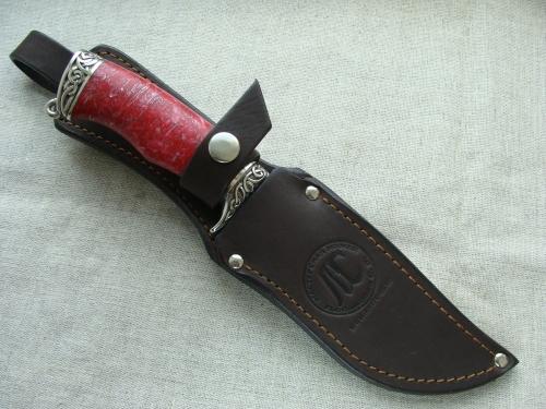 Нож Лось с литьём из мельхиора (дамаск, акрил)