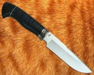 Нож Лесник 1 с мельхиоровой гардой (сталь D2, стабилизированная карельская берёза) - сквозной монтаж