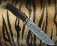 Нож Лесник 1 с литьём из мельхиора (дамаск, стабилизированная карельская берёза)