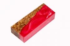 Гибридный брусок для рукояти ножа (красный перламутр и стаб. карельская берёза)