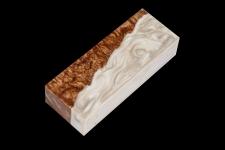 Гибридный брусок для рукояти ножа (белый перламутр и стаб. карельская берёза)