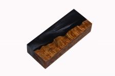 Гибридный брусок для рукояти ножа (чёрный перламутр и стаб. карельская берёза)