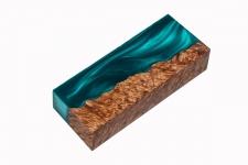 Гибридный брусок для рукояти ножа (зелёный перламутр и стаб. карельская берёза)